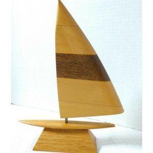 Vintage Sailboat Sculpture Handmade Hardwood Signd